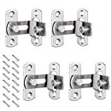 MIZOMOR 4PCS Door Lock Buckle Barn Sliding Door Lock Stainless Steel 90 Degree Right Angle Door Latch for Door Window Cabinet Bathroom Pet Cage Household Hardware Accessories with 16 Screws