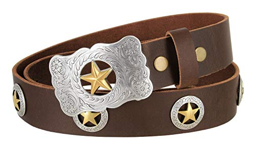 Mens Texas Ranger Star Genuine Leather Western Cowboy Belt with Matching Conchos (Brown, 38)