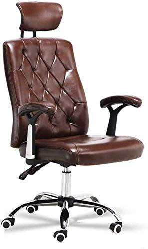 XiYou Bürostühle Schreibtischstühle, Ergonomie mit hoher Rückenlehne Leisure Boss Lifting Seat mit Kopfstütze und Armlehne, Task Chair Armchair (Braun)
