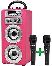 Dynasonic - Bluetooth draagbare karaoke speaker 10W, TWS microfoon inbegrepen, FM radio, USB/SD speler - Model 025, roze kleur TWS 2 Microfoons