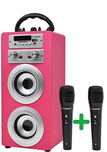 DYNASONIC - Altoparlante Bluetooth portatile con modalità karaoke e microfono, radio FM e lettore SD USB (modello rosa) (2 Micros TWS)