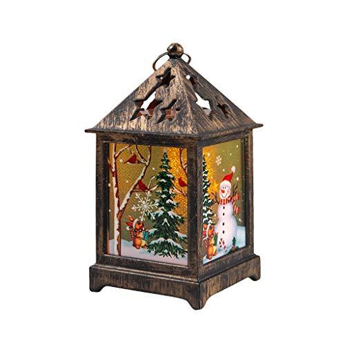 FENG Weihnachtsdekoration Lichter,Vintage Kleine Öllampe Tragbare Hängende LED Laterne,Weihnachtsmann-Schneemann-Elk Laterne für Innen, Außen - Weihnachten Geschenk (A)
