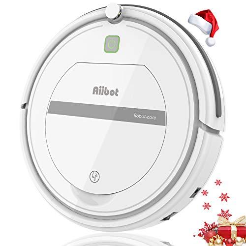 Aiibot Robot Aspirador,Succión Fuerte Aspirador Robot,Diseño Ultrafino,Anti-caída,HEPA,Pelos Animales, Adecuado para Suelos Duros y Alfombras de Pelo Corto (T288 Blanco)