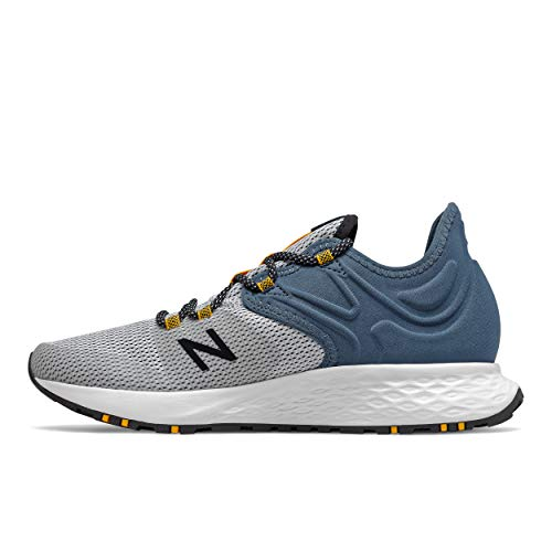 New Balance Men's Fresh Foam Roav Trail V1 Running Shoe, White/Stone Blue, 11.5 D US