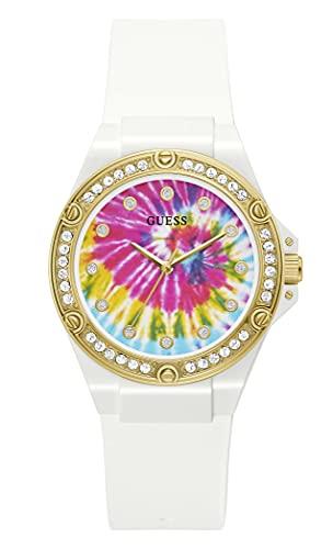 GUESS Reloj de cuarzo de acero inoxidable para mujer con correa de silicona, blanco, 21 (Modelo: GW0259L1)