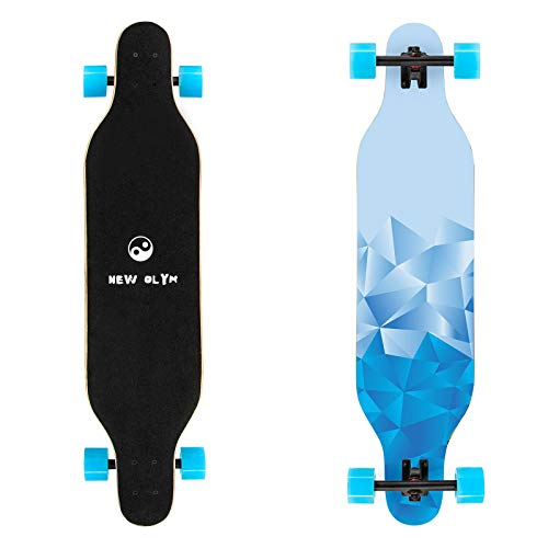 New Olym Longboard Skateboard, 41 Inch 8 Layer Canadian Maple Drop Through Longboards for Youths Beginners (Blue Ice Club)
