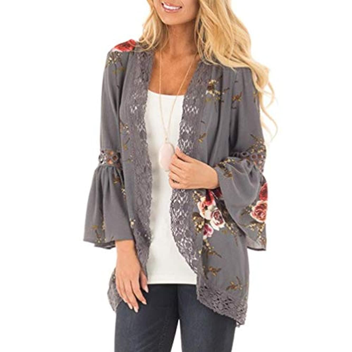 Casual Chiffon Cardigan Long Sleeve Lace Kimono for Women Solid Blouse Tops