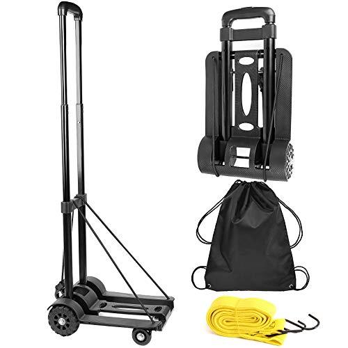 ZOENHOU 40 kg, carro de mano plegable negro, carro de utilidad de construcción sólida, carrito de equipaje de 4 ruedas de alta...