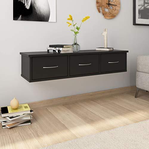 vidaXL Estante con Cajones de Pared Aglomerado Hogar Decoración Diseño Bricolaje Mobiliario Mueble Estantería Repisa 88x26x18,5 cm Negro Mobiliario