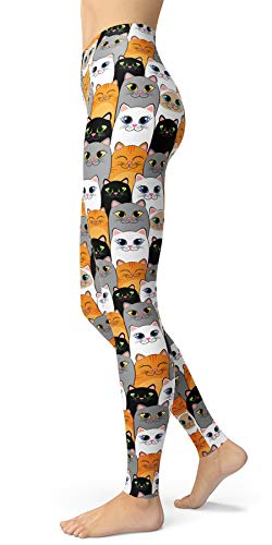 High Waist Cat Patterned Leggings, Buttery Soft Yoga Pants for Women, Ankle Length Skinny Pants