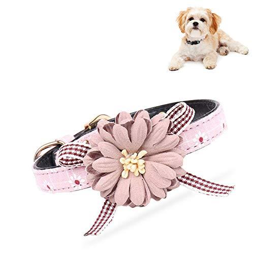 HUI JIN Modisches Katzenhalsband, verstellbar, mit Blumendekoration, für Welpen und Katzen, Rosa