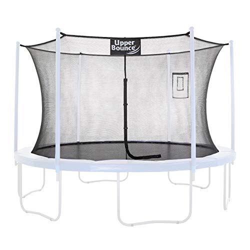 Upper Bounce Trampoline Safety Enclosure Replacement Net with Smartphone/Tablet Selfie & Livestream Pouch, Fits 15 FT Round Frame, Using 6 Poles (or 3 Arches) - Adjustable Straps, Black