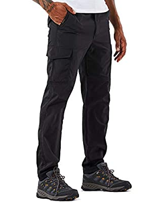 Men's Outdoor Hiking Pants Lightweight and Thick Fleece Cargo Climbing Camping Ski Trousers (105 Thin Black, L)