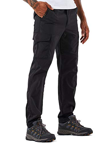 Men's Outdoor Hiking Pants Lightweight and Thick Fleece Cargo Climbing Camping Ski Trousers with Belt (105 Thin Black, S)