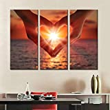 3 unids / set pinturas en lienzo playa puesta de sol 3 paneles decoraciones para el hogar impresiones artísticas de pared sin marco-50x100cmX3
