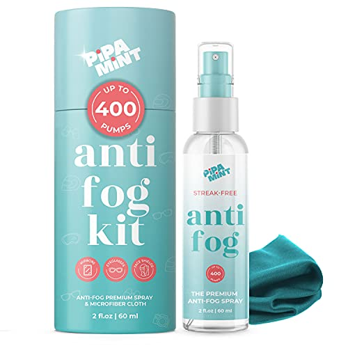 Anti Fog for Glasses 2oz - Glasses Cleaner - Anti Fog Spray for Glasses - Safety for Glasses, Paintball Mask Anti Fog, Diving - Anti Reflective for Glasses, Goggles, Helmets, Windows - Cloth Included