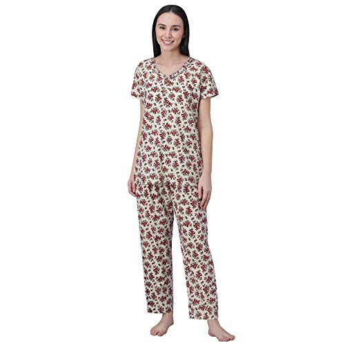 Shararat Women's Floral Printed Night Suit Night Pyjama and Top...