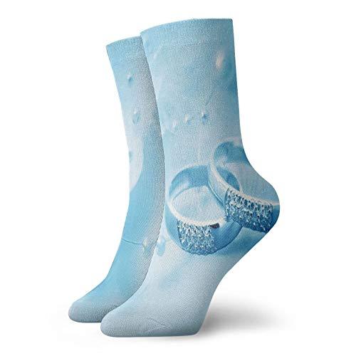 Calcetines cortos de longitud de pantorrilla suaves, anillos de compromiso con perlas sobre fondo azul de ensueño, calcetines para mujeres y hombres, ideales para correr