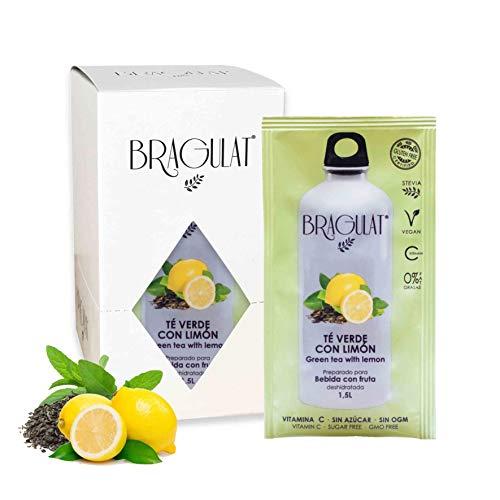 BRAGULAT   Zumo Concentrado de Limón y Té Verde   Bebidas y Refrescos Instantáneos en Polvo   Sin Azúcar y con Vitamina C   15 Sobres