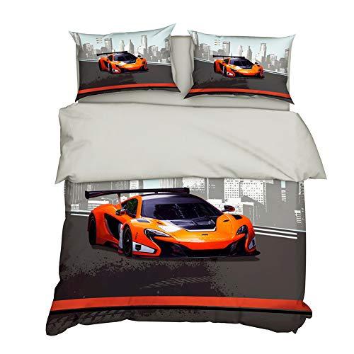 AYMAYO Bettwäsche-Set 135x200 cm Formel-eins-Motiv Auto-s Sport-Wagen Fahrzeug Race car Theme 100% Baumwolle Bettbezug und Kissenbezüge (C,135×200cm)