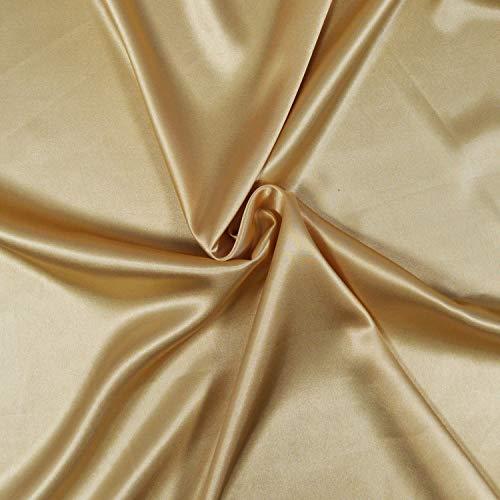Satin-Stoff, 3 m, Satin-Stoff, fließender Satin-Stoff, Polyester/Elasthan, hervorragende Qualität, Stoff für Kleid, Rock oder Tunika (Gold)