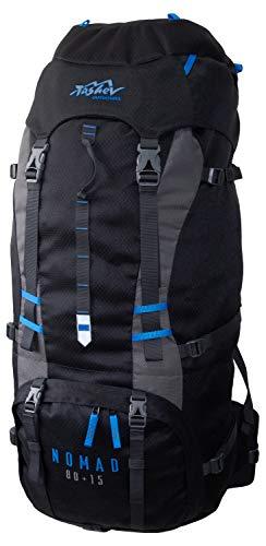 Tashev Outdoors Nomad Sac à dos de randonnée pour homme et femme 80 l + 15 l (fabriqué en UE) (noir et bleu)