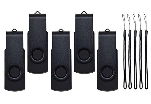 5 Pezzi 2GB Chiavetta USB Nero Ottima Pennetta USB 2.0 Kepmem Portatile 2 GB Flash Drive Rapporto Qualità Memoria Stick Metallo Girevole Pendrive Elegante Chiave USB Economica Penna USB con Cordoncino