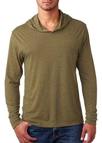 Next Level Apparel Men's Tri-Blend Rib Knit Hoodie, Military Green, Small