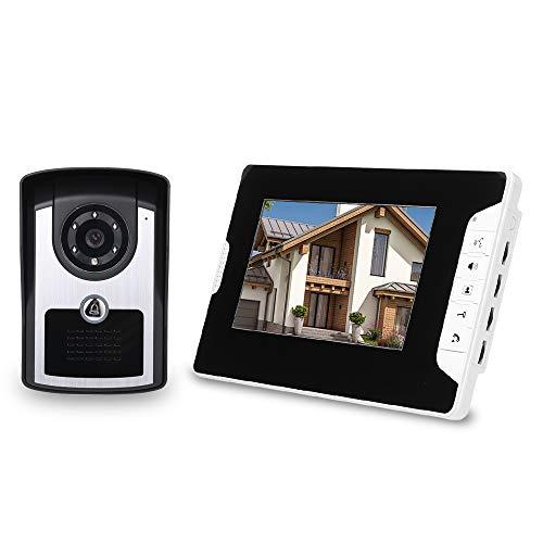 OWSOO 7'' Videoportero Cableado, Cámara Impermeable + LCD Monitor, Soporta Desbloqueo de Remoto, Audio Bidireccional, Visión Nocturna, Intercomunicador Manos Libres