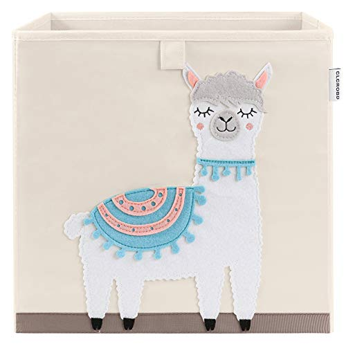 CLCROBD Foldable Animal Cube Storage Bins Fabric Toy Box/Chest/Organizer for Kids Nursery, 13 inch (Llama)