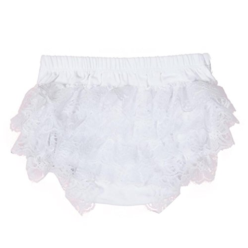 Toddler Baby Infant Girls Lace Ruffle Bloomer Nappy Underwear Panty Diaper Cover Briefs 0-18 Months (0-6 Months, White)
