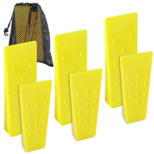 """6 Pack Tree Felling Wedges with Spikes for Safe Tree Cutting – 3 Each of 8"""" and 5.5"""" Wedges with Storage Bag; 6 Felling Dogs to Guide Trees Stabilize and Safely to Ground for Loggers and Fallers"""