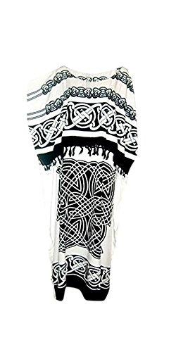 Cool Kaftans New Celtic Kaftan Caftan Dress Plus One Size Cool Soft - White Black - FS