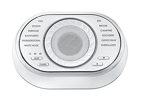 HoMedics SoundSpa Ultra-Portable Rechargeable Sound Machine | 12 Relaxing Sleep Sounds , Auto-Off Timer, Adjustable Volume | Portable Sleep Therapy for Home , Office , Baby & Travel