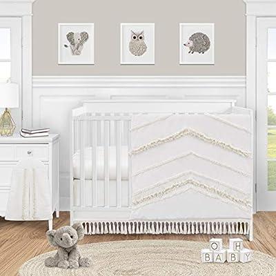 Sweet Jojo Designs Ivory Gender Neutral Boho Bohemian Baby Girl Boy Nursery Crib Bedding Set - 4pc - Solid Color Beige Cream Off White Farmhouse Chic Unisex Minimalist Tassel Fringe Macrame Cotton