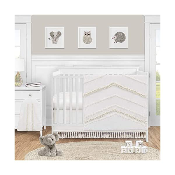 Sweet Jojo Designs Ivory Gender Neutral Boho Bohemian Baby Girl Boy Nursery Crib Bedding Set – 4pc – Solid Color Beige Cream Off White Farmhouse Chic Unisex Minimalist Tassel Fringe Macrame Cotton