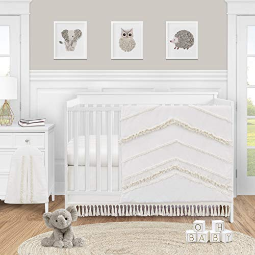 Sweet Jojo Designs Ivory Gender Neutral Boho Bohemian Baby Girl Boy Nursery Crib Bedding Set - 4pc - Solid Color Beige Cream Off White Farmhouse Chic Unisex Minimalist Tassel Fringe Macrame Cotton