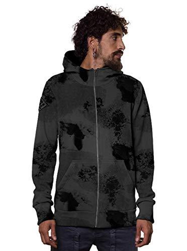 Herren Camouflage Kapuzenjacke Fleckengrafik Mittelschweres Street-Style Sweatshirt - Grau - M