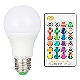 LED電球 E26口金 40W形相当 RGBW 16色 調光調色 5W 省エネ マルチカラー 昼光色 16色選択可 普段照明 装飾照明電球 リモコン付き 記憶機能