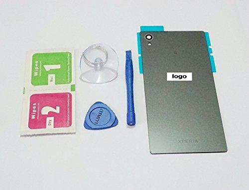 MIYI Akkudeckel Batterieabdeckung Rückseite Back-Cover für Sony Xperia Z5 E6603 E6633 E6653 + Aufkleber + Werkzeuge + Reinigungsset (Nicht NFC) (Schwarz)