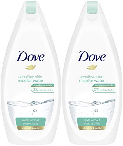 Dove Sensitive Skin Micellar Water Body Wash, 16.9 Ounce / 500 Ml (Pack of 2) International Version