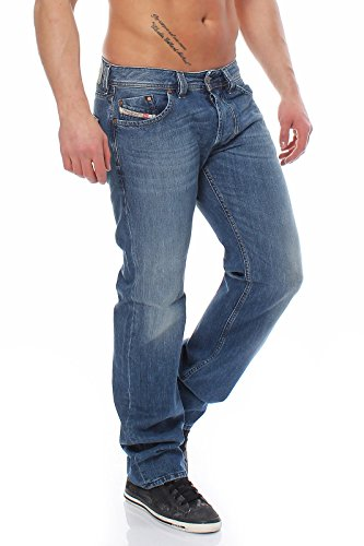 Diesel Larkee 0R08M Herren Jeans Hose Regular Straight (Blau, W29/L32)