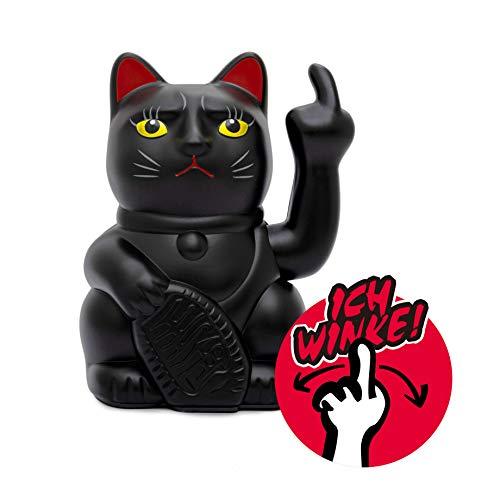 ANGRY CAT - aus Lucky Cat (Winkekatze) Wird Stinkekatze Dekorationsartikel aus Kunststoff für Büro, Wohnzimmer, Schlafzimmer | für Winkekatzen Liebhaber | Farbe: matt schwarz/Black, Größe ca. 15 cm