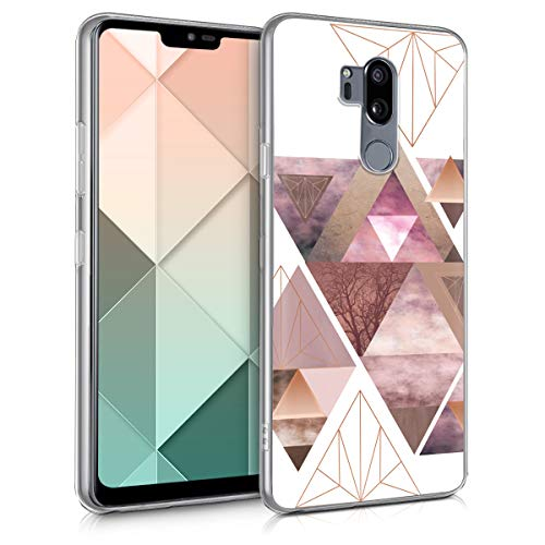 kwmobile Hülle kompatibel mit LG G7 ThinQ/Fit/One - Handyhülle - Handy Hülle Glory Dreieck Muster Rosa Rosegold Weiß