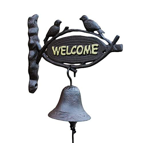 Cola de hierro campana de hierro forjado timbre de hierro europa y los Estados Unidos Puerta de la puerta de hierro retro Bienvenido Decoración de la pared Decoración de la puerta Puerta delantera de