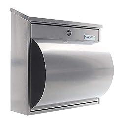 Rottner Stahl-Briefkasten Wallersee mit großem Fassungsvolumen und integrierter Zeitungsbox silber T00204