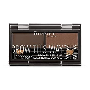 Rimmel Brow This Way Sculpting Kit Dark Brown Powder 0.04 oz Wax 0.03 oz Brow Sculpting & Styling Kit with Eyebrow Wax & Setting Powder