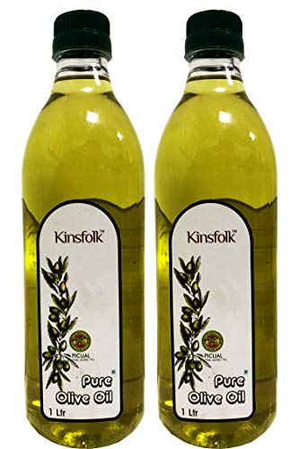 Kinsfolk Pure Olive Oil ((Imported Oil from Spain)) - 1 LTR (( Pack of 2 ))