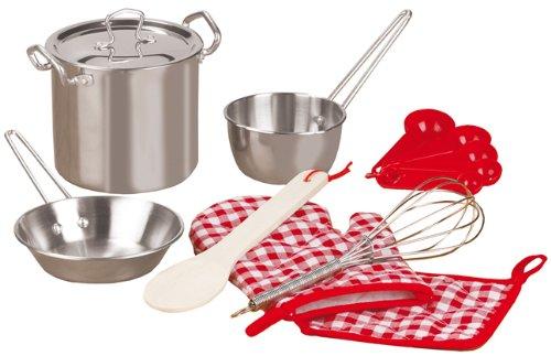 Kinder-Koch-Set 13tlg. | Das perfekte Geschenk | Aus rostfreiem Stahl | Mit Kochhandschuh, Topflappen, Suppentopf, Messerset und mehr