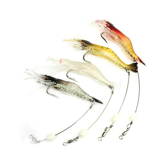 nawaish Artificial Silicone Soft Bait Set, Luminous Shrimp Fishing Lure with Hook Fishing Tackle, Freshwater Saltwater (20 Pcs)